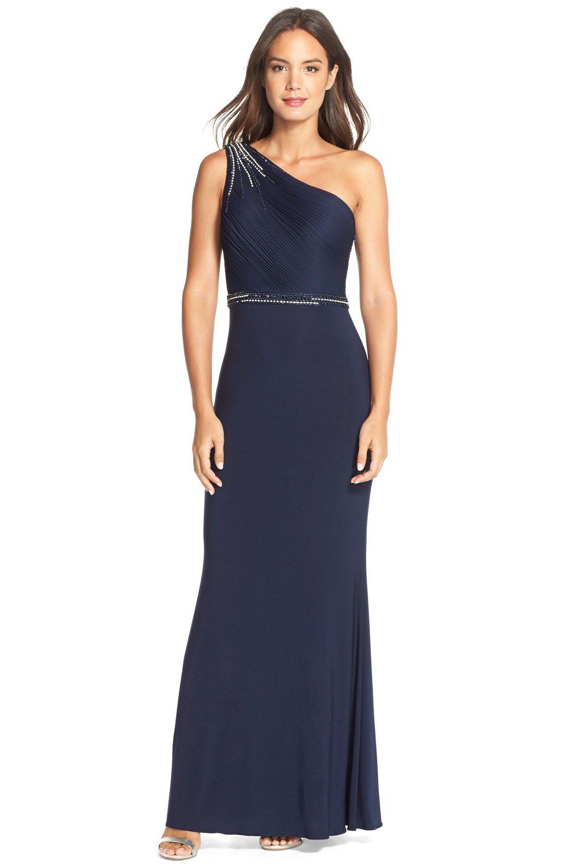 Js boutique embellished oneshoulder jersey gown indie unmasked