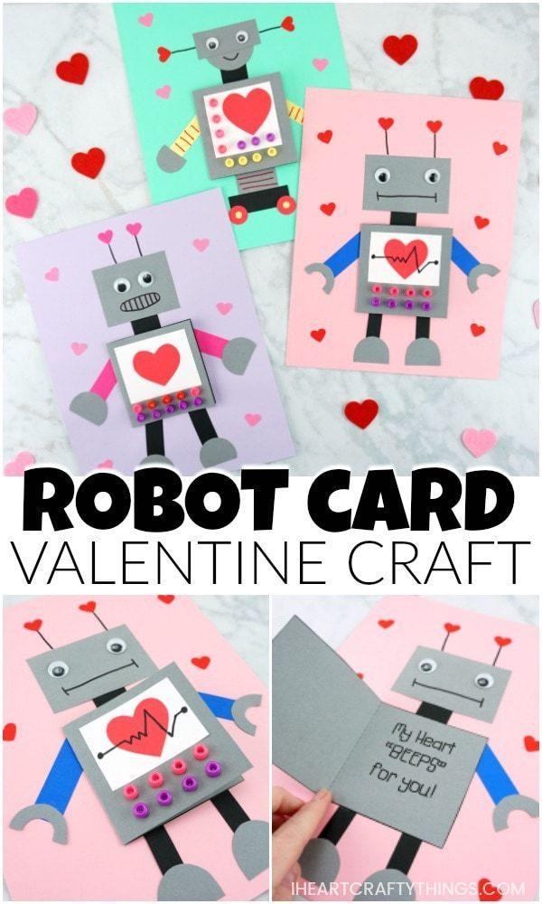 robot valentine craft  sevgililer günü süsleri okul