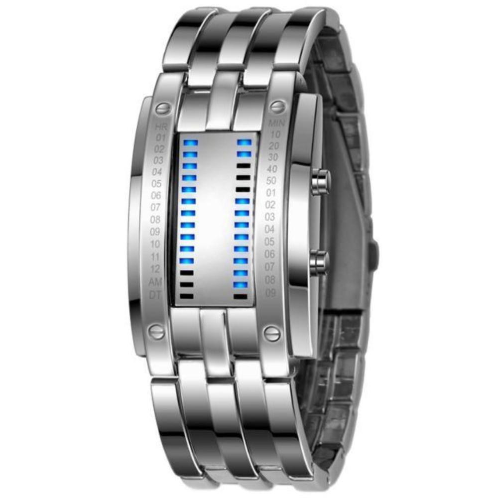 Mens Stainless Steel Date Digital LED Bracelet Sport Watches