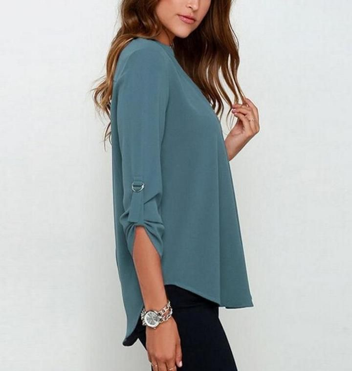 987603c34 Fashion Chiffon Blouses 3 4 Sleeve V-neck by LOSSKY – Peruse and Shop