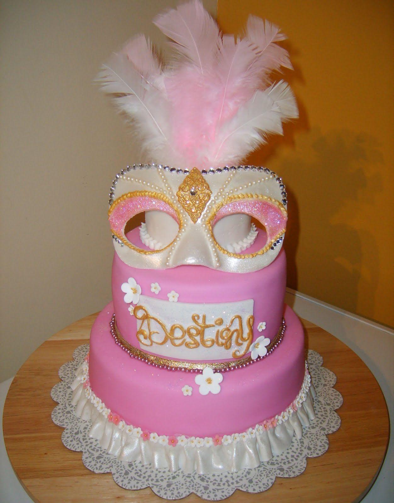 Masquerade Birthday Cakes Pink Masquerade Cake Baking
