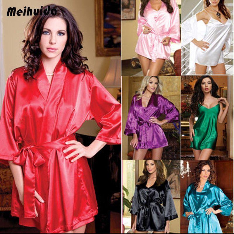 0276fd1d8c Silk Satin Kimono Robe Dressing Gown Wedding Bridesmaid Sleepwear Bathrobe -! Robe Dressing Kimono
