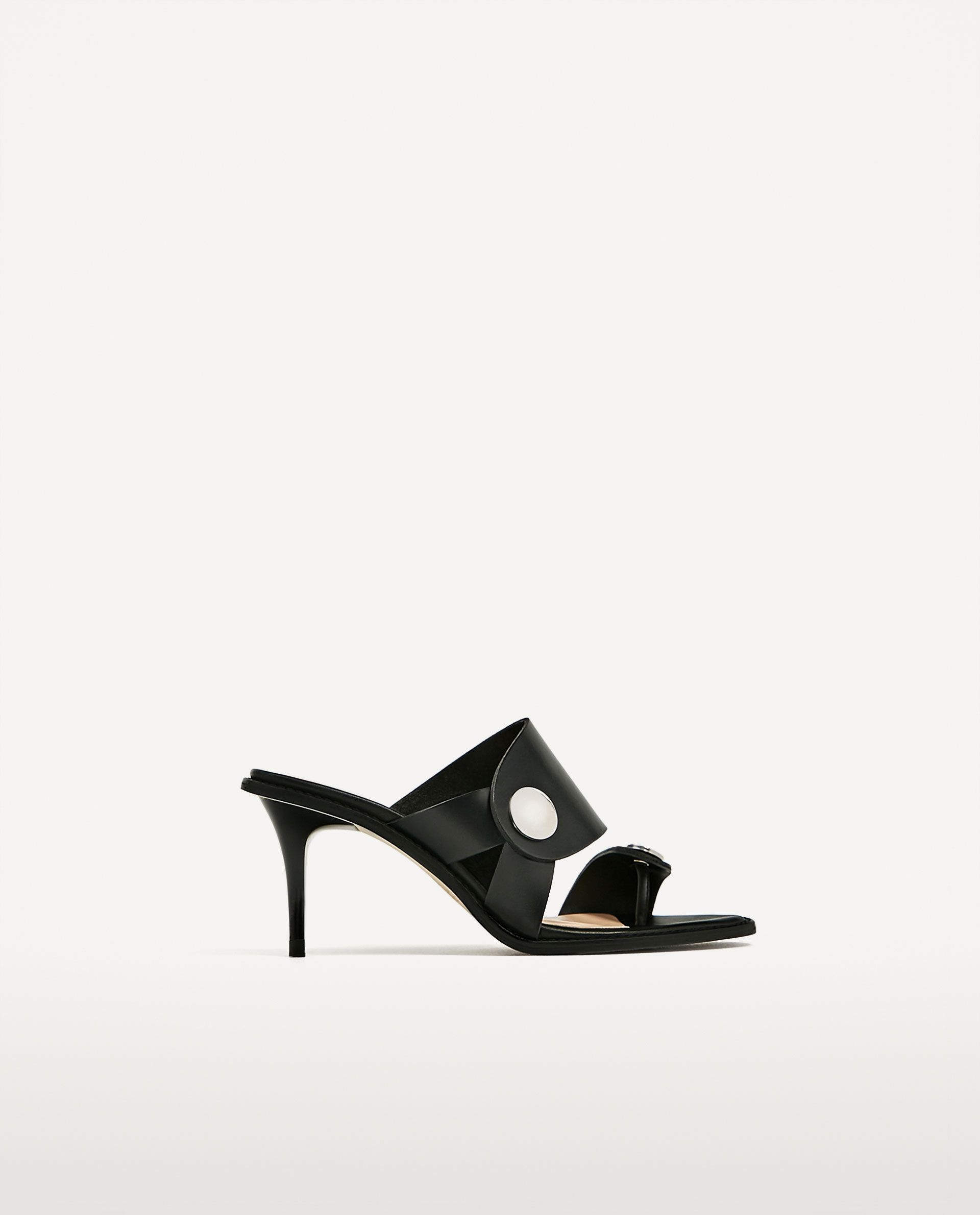 14afec34e4f Image 2 of MEDIUM HEEL LEATHER SANDAL from Zara