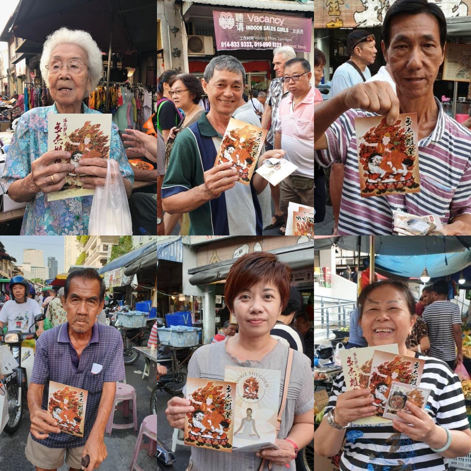 People in George Town, Penang, Malaysia happily receiving