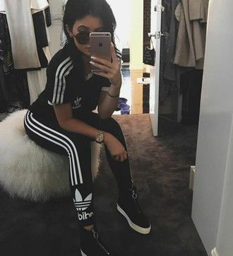 shoes adidas kylie jenner black leggings shirt top adidas originals black  shoes fashion style kylie jenner