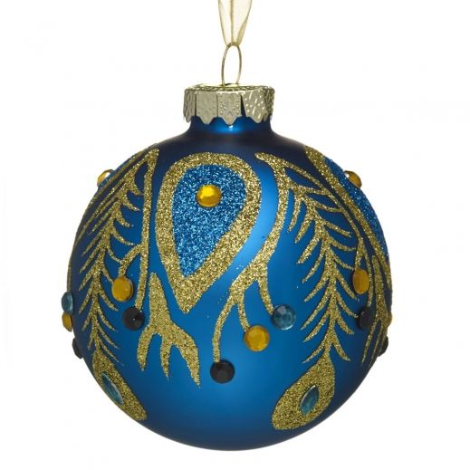 Christmas Trees Dorchester: Wilko Decoration Midnight Bauble Peacock/Teal Glass 8cm At