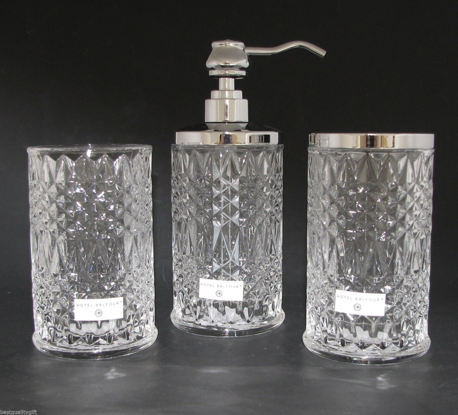 Details About Hotel Balfour 3 Pc Set Clear Crystal Glass Checker