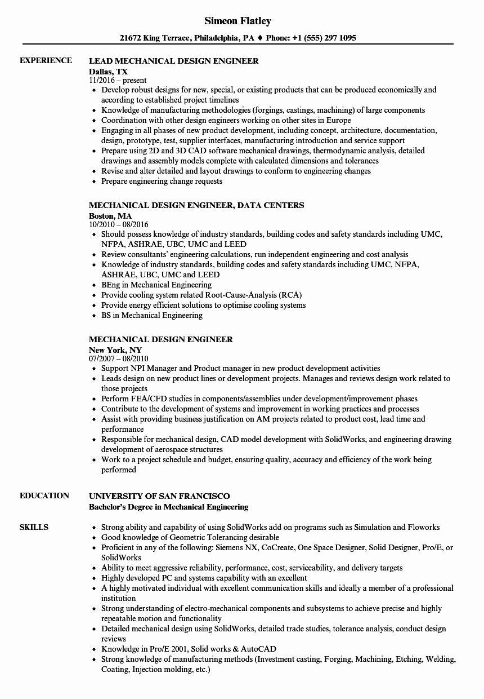 Mechanical Design Engineer Resume Lovely Mechanical Design Engineer Resume Samples In 2020 Job Resume Samples Mechanical Design Engineering Design