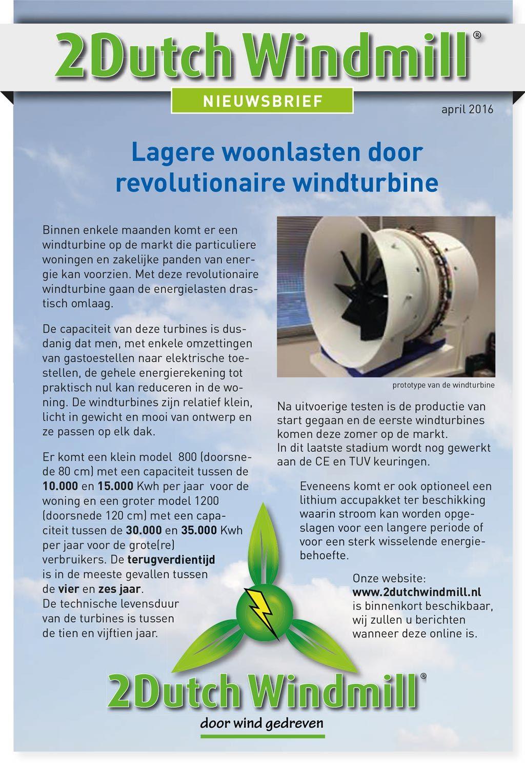 2DutchWindmill® - Voor de Wind | Energie besparen / opwekken ...