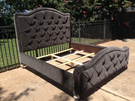 King Tufted Bed Headboard Footboard Rails Gray Velvet