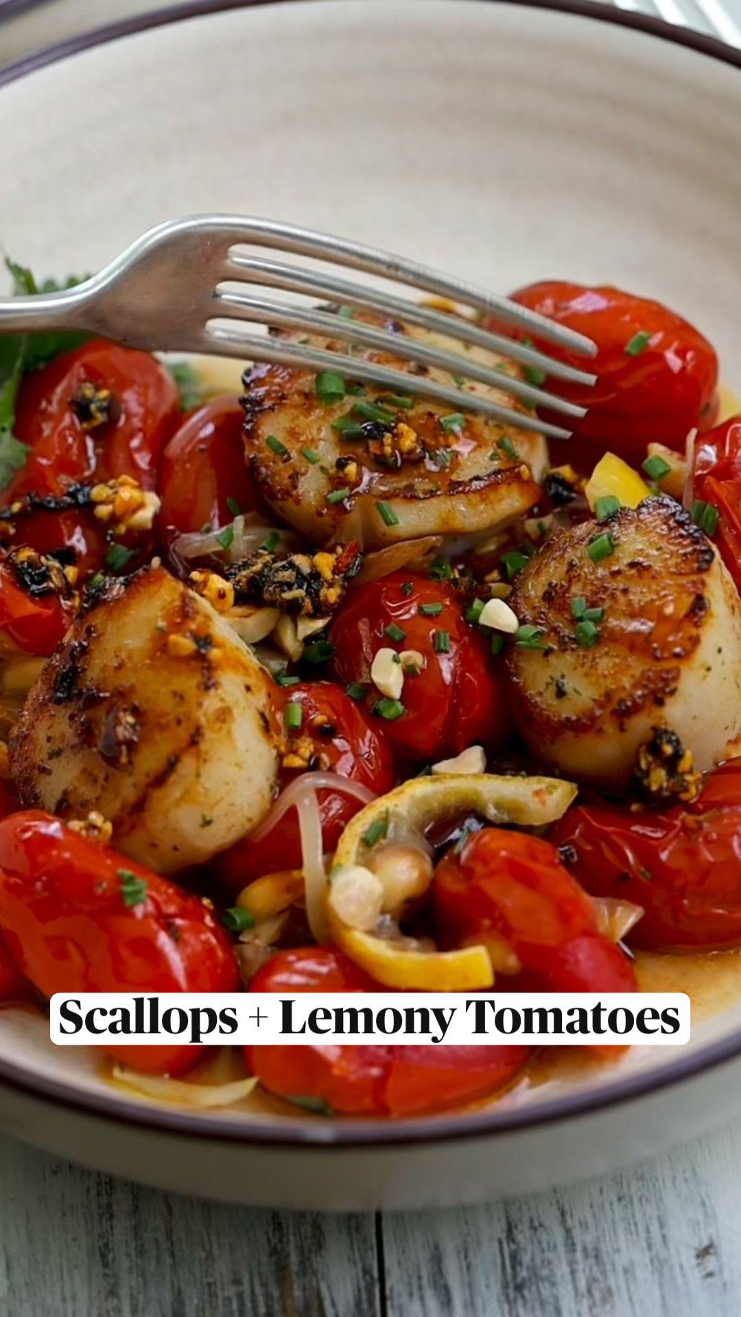 Scallops + Lemony Tomatoes