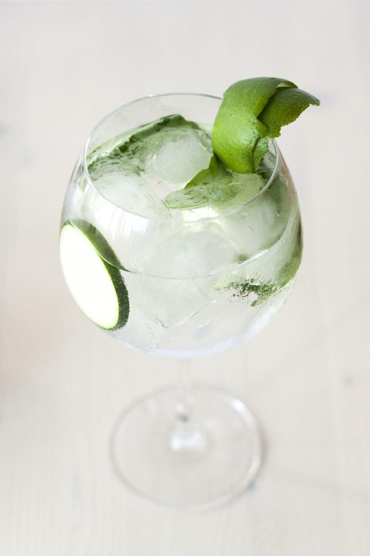 Gin Tonic: albahaca, pepino y lima | Ginebra | Pinterest ...