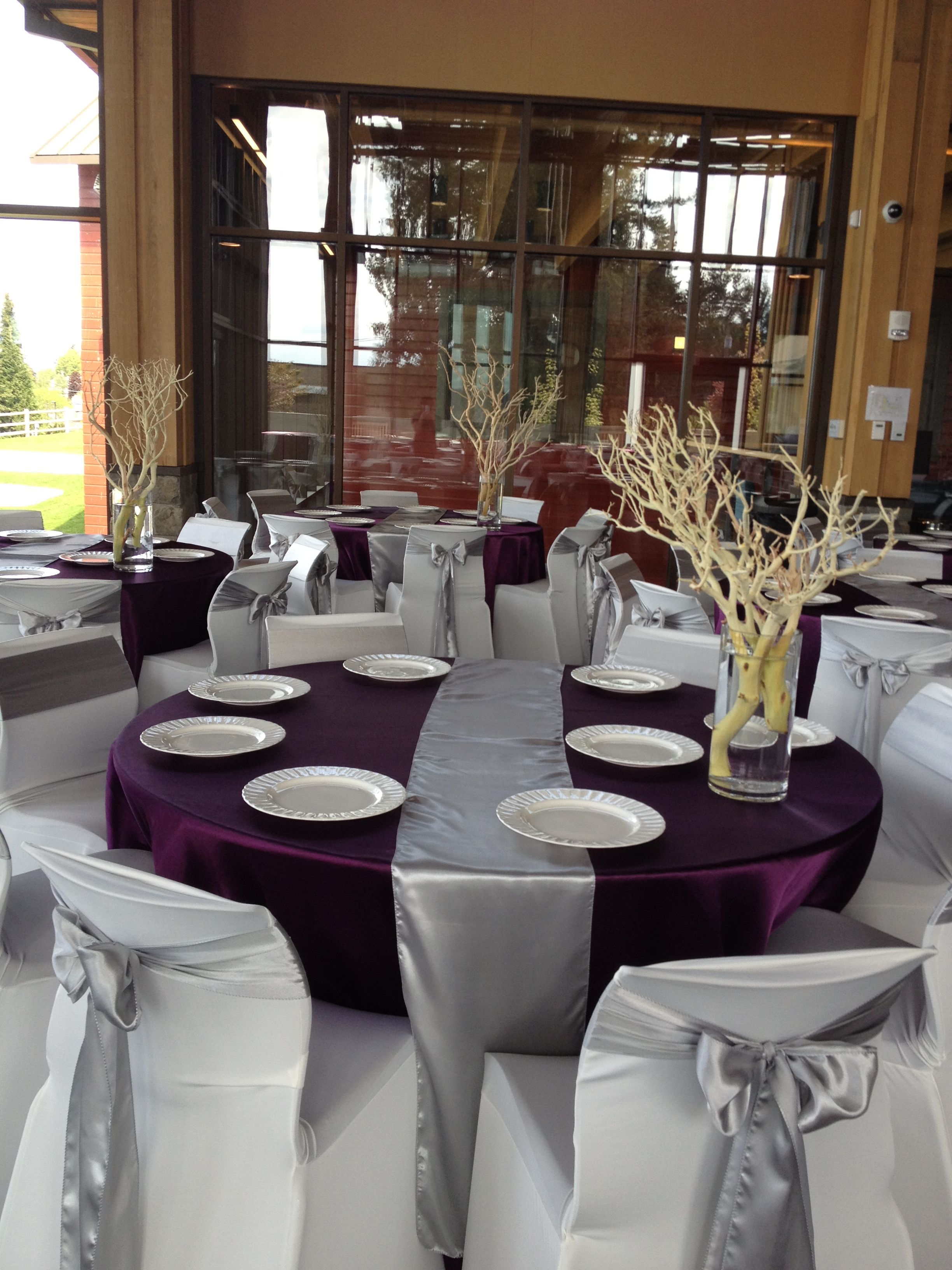 Silver Eggplant Purple Wedding Decor