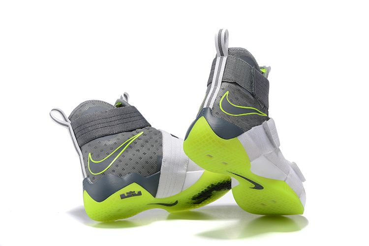 9a07d428684 2017 April New Arrival Nike LeBron Soldier 10 X Dunkman Electric Green White  Grey Cheap - Click Image to Close