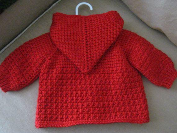 Jersey de bebé de ganchillo rojo con capucha para niño o niña ...