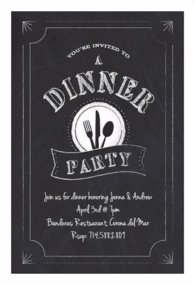 Chalk Board Dinner Party Printable Invitation Template Customize
