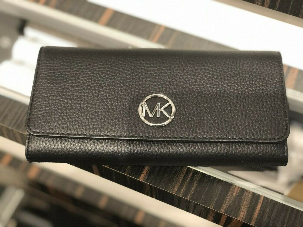 e30bc2396735 (eBay Ad) MICHAEL KORS PEBBLED LEATHER FULTON FLAP CONTINENTAL WALLET BLACK  SILVER TONE