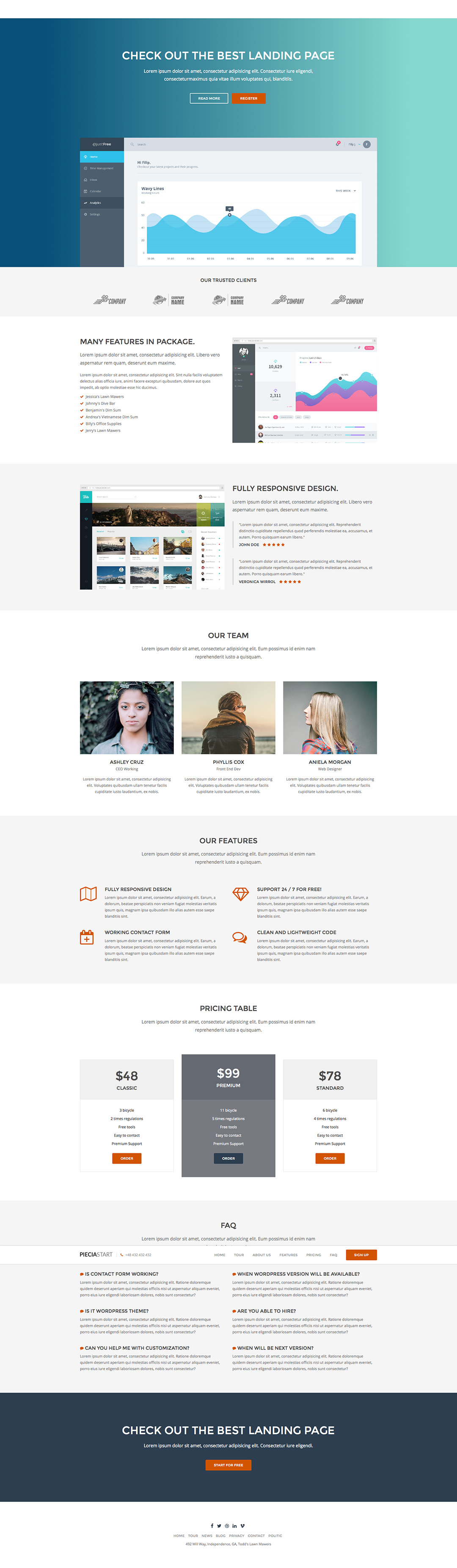 A clean designed landingpage template with six premade layouts ...