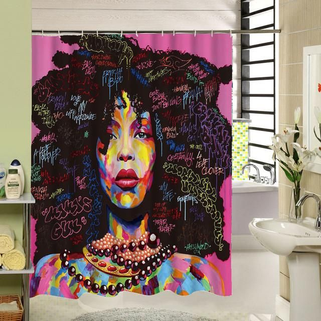 Afro-Hair-African-Girl Shower Curtain 180CM Polyester Fabric Bathroom Curtains