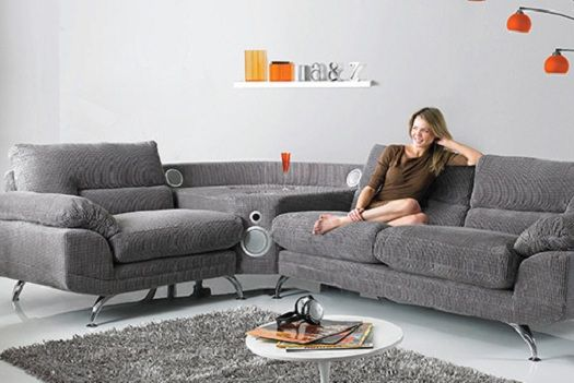 Couch With Built In Speakers Lets You Connect Any Music Device House And Home Magazine Sofa Furniture