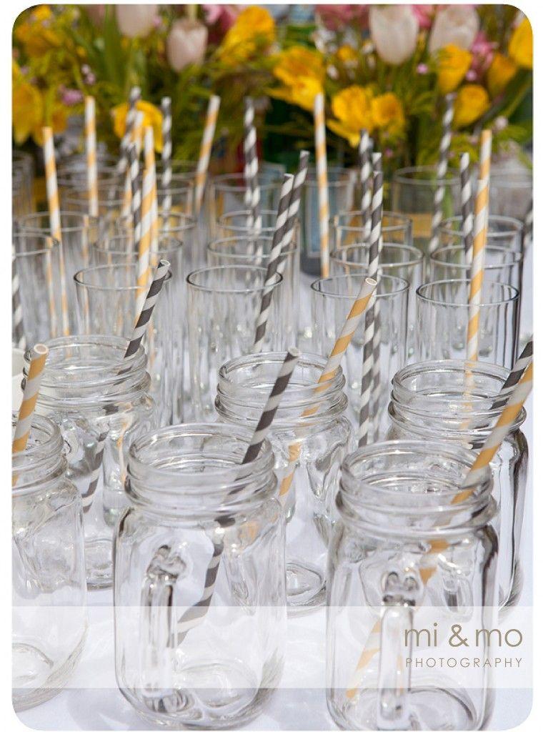 Grey & yellow stripe paper straws