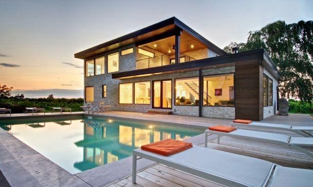 Modernes holzhaus flachdach  Einfamilienhaus mit flachdach-Pool Bungalow Konstruktion Verglast ...