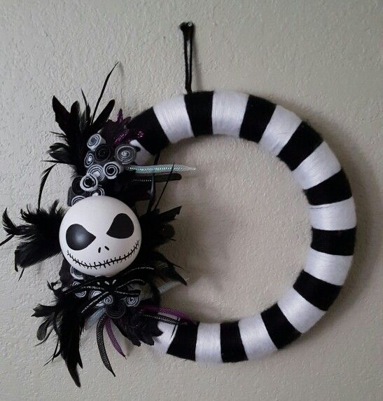 Jack skellington wreath made for melissa wreaths door - Jack skellington decorations halloween ...