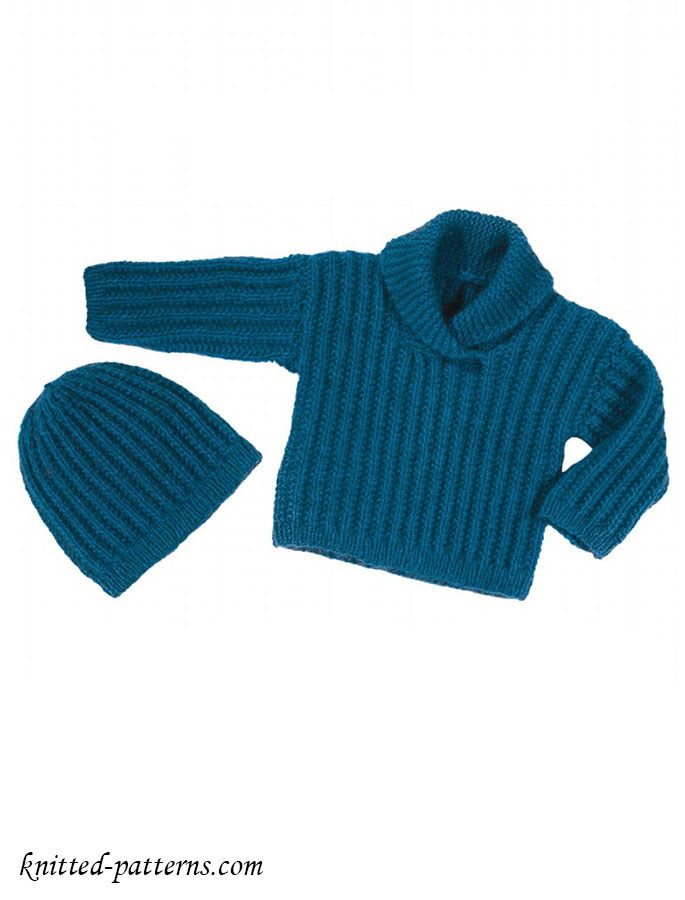 Free knitting patterns for baby sweater and hat | Free knitting ...