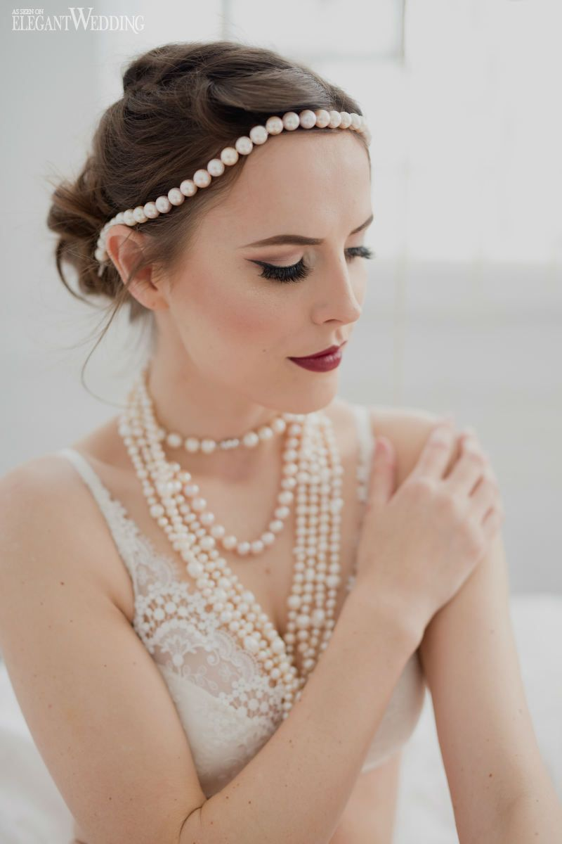 Bridal Boudoir Makeup and Hair With Vintage Pearl Necklaces