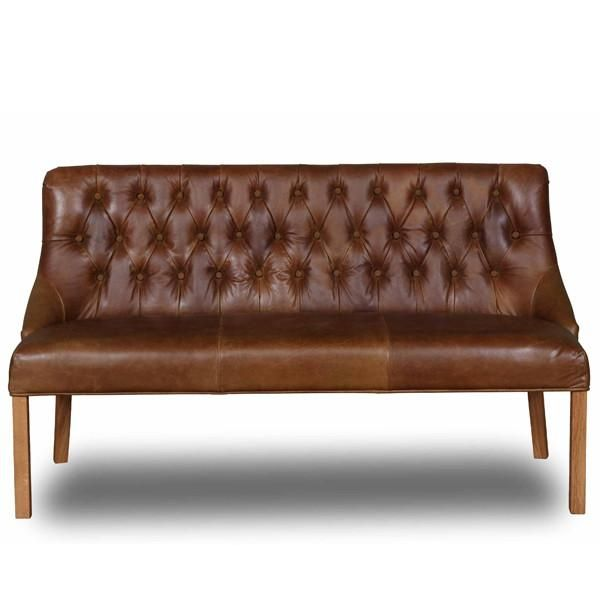 Attirant Stanton Cerato Leather Dining Bench With Wooden Legs