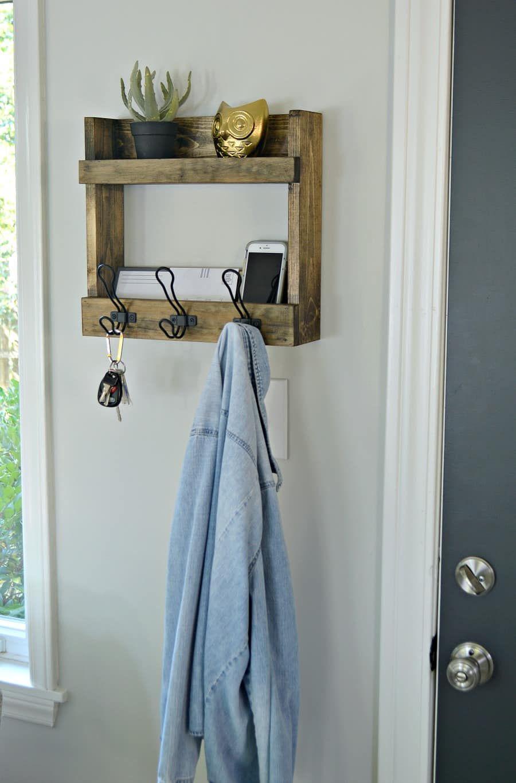Rustic Wall Mounted Coat Rack With Shelves Diy Coat Rack Diy
