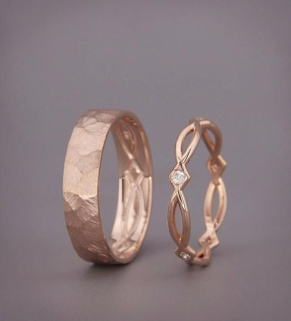 His and Hers Celtic Wedding Band Set | Rose Gold Celtic Wedding Ring Set with Di…