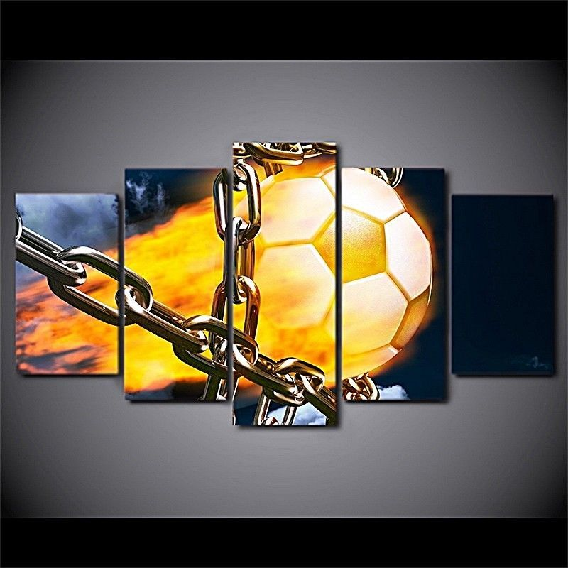 5 Pcs Soccer Football Fire Chains Picture Print Canvas Wall Art ...