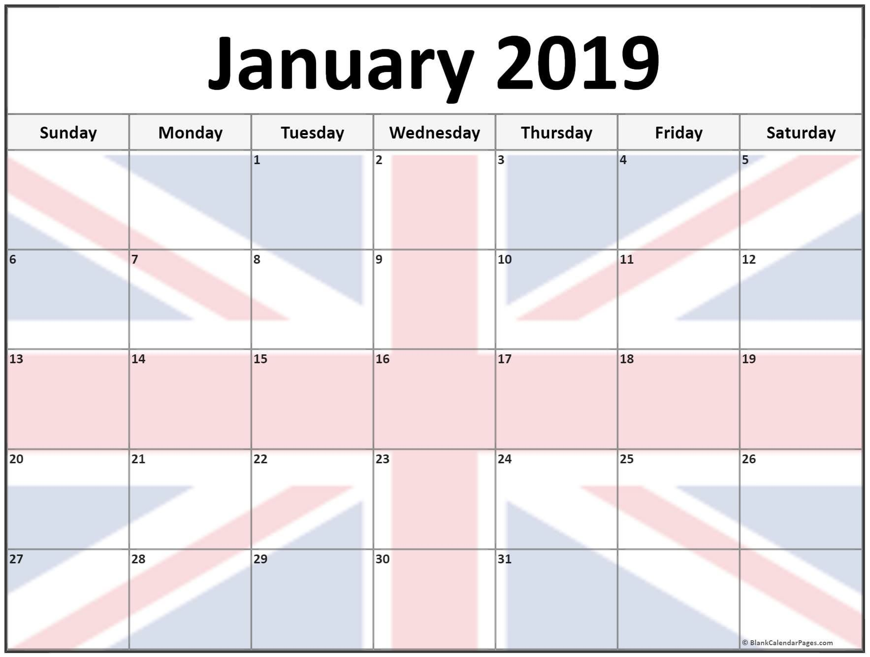 January 2019 Calendar Uk With Holidays Printable With Images