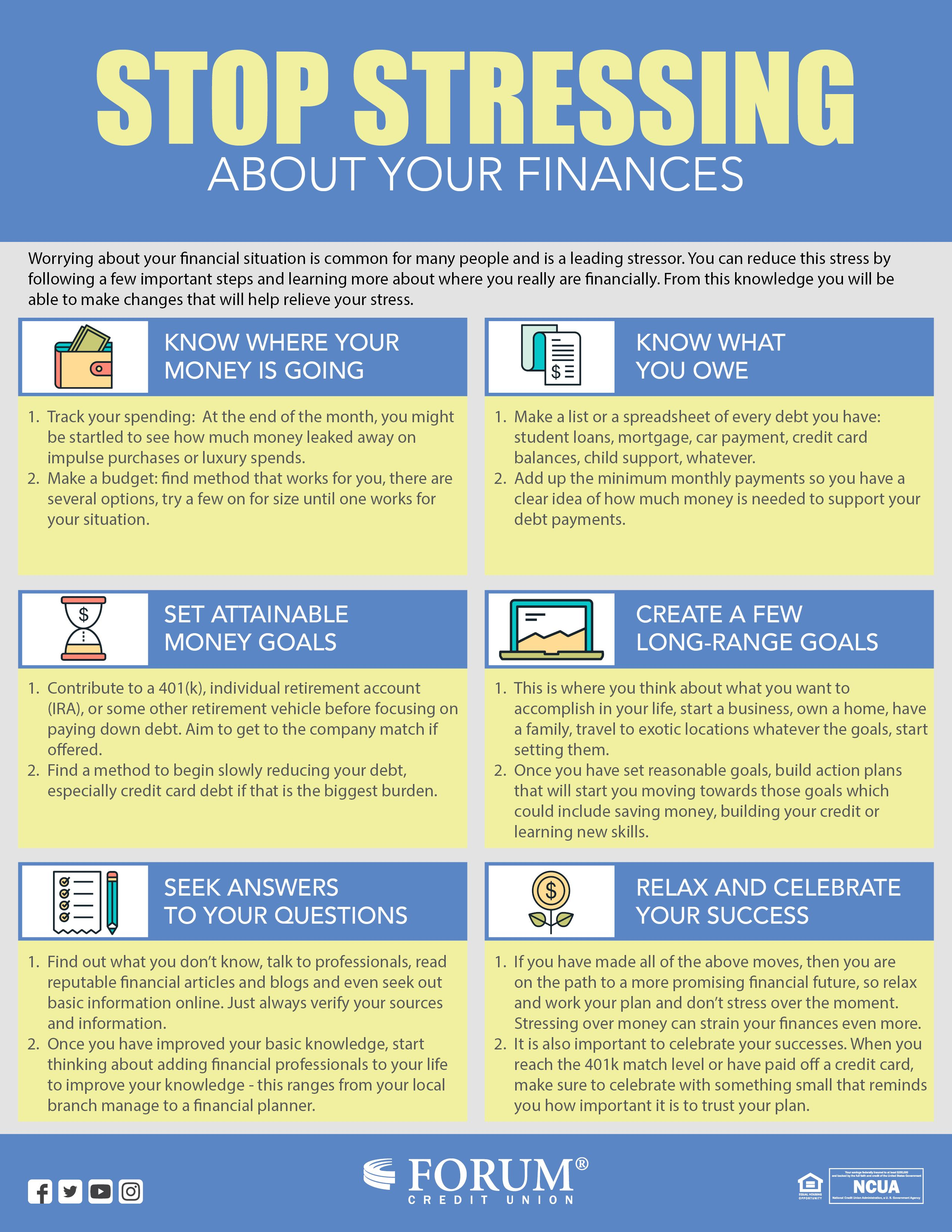 Stop Stressing About Your Finances Forum Credit Union Finance Stress Personal Finance