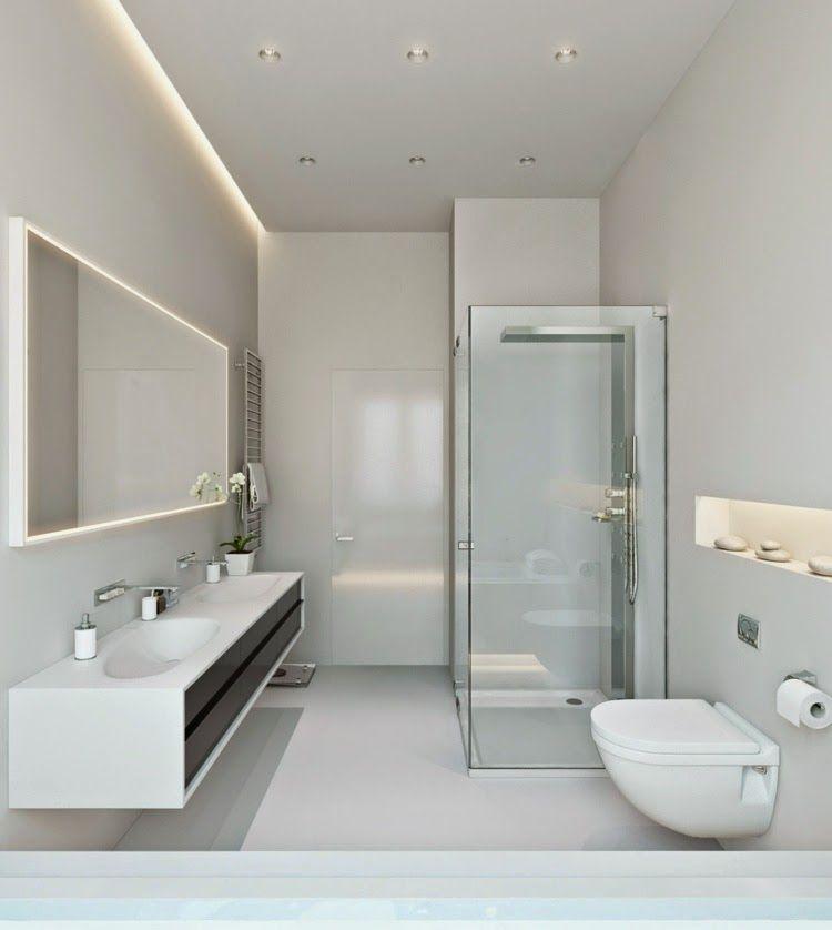 Modern False Ceiling Led Lights White Bathroom With Led
