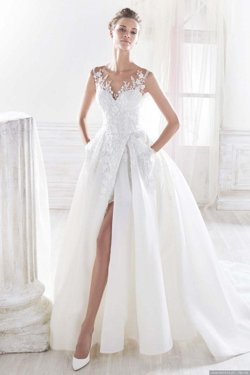 Incrível tule bateau decote a linha vestidos de casamento com apliques de renda sem mangas ilusão voltar vestido de noiva vestidos de novia