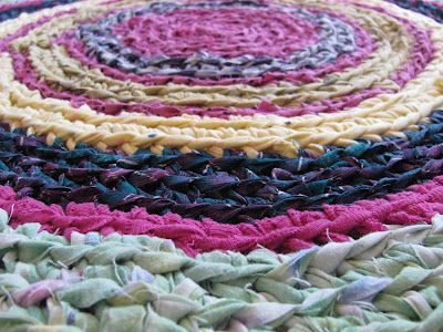 Recycling. Rug from strips of old t-shirts and sheets