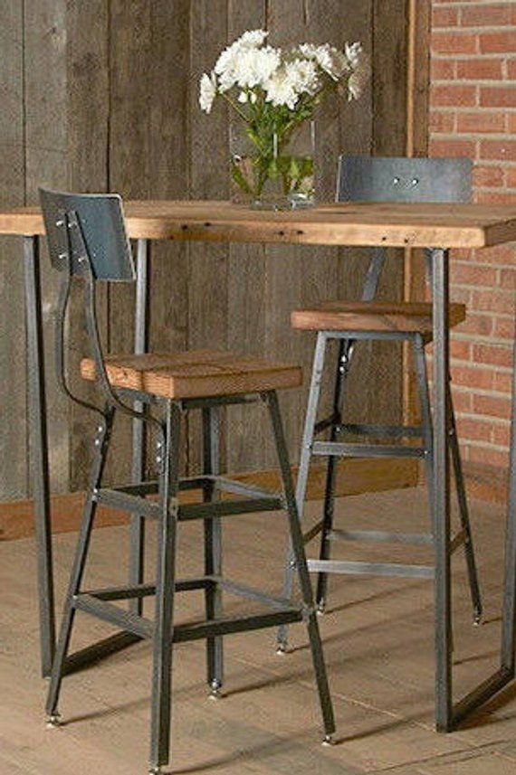 Counter Height Barn Wood Stool With Steel Back 1 25 Counter