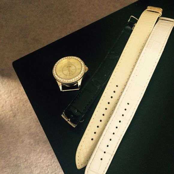 Watch with three straps I cut the black strap because my wrist was so tiny. Gold watch part. Vivani Accessories Watches