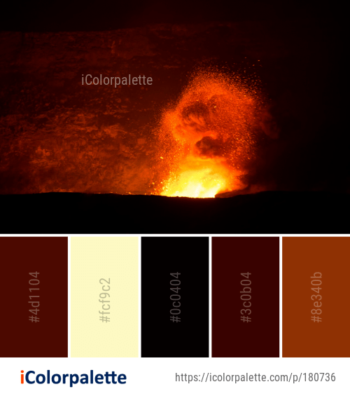 Color Palette Ideas From Types Of Volcanic Eruptions Landform Volcano Image Color Palette Palette Color