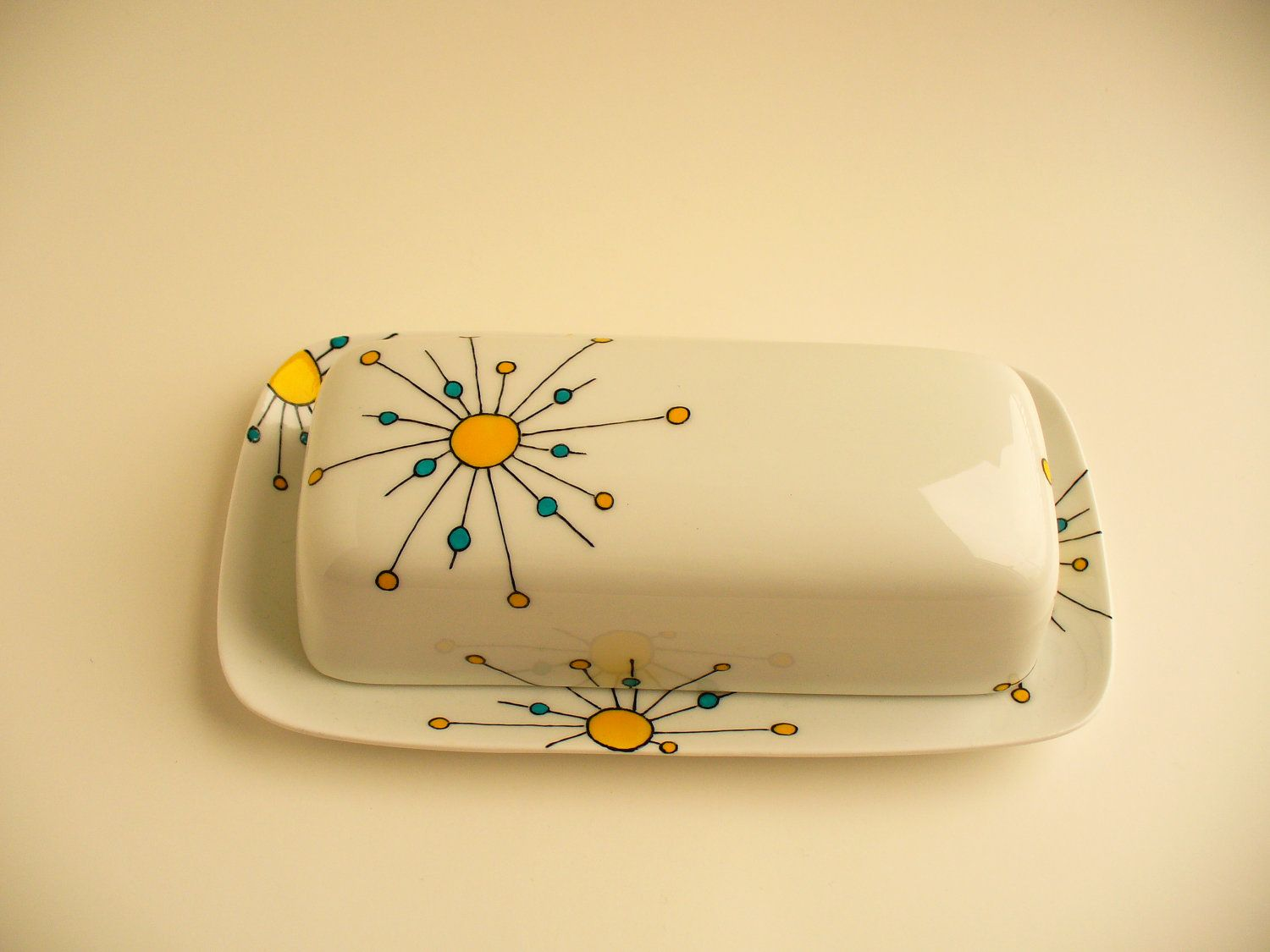 Hand painted butter dish Atomic design