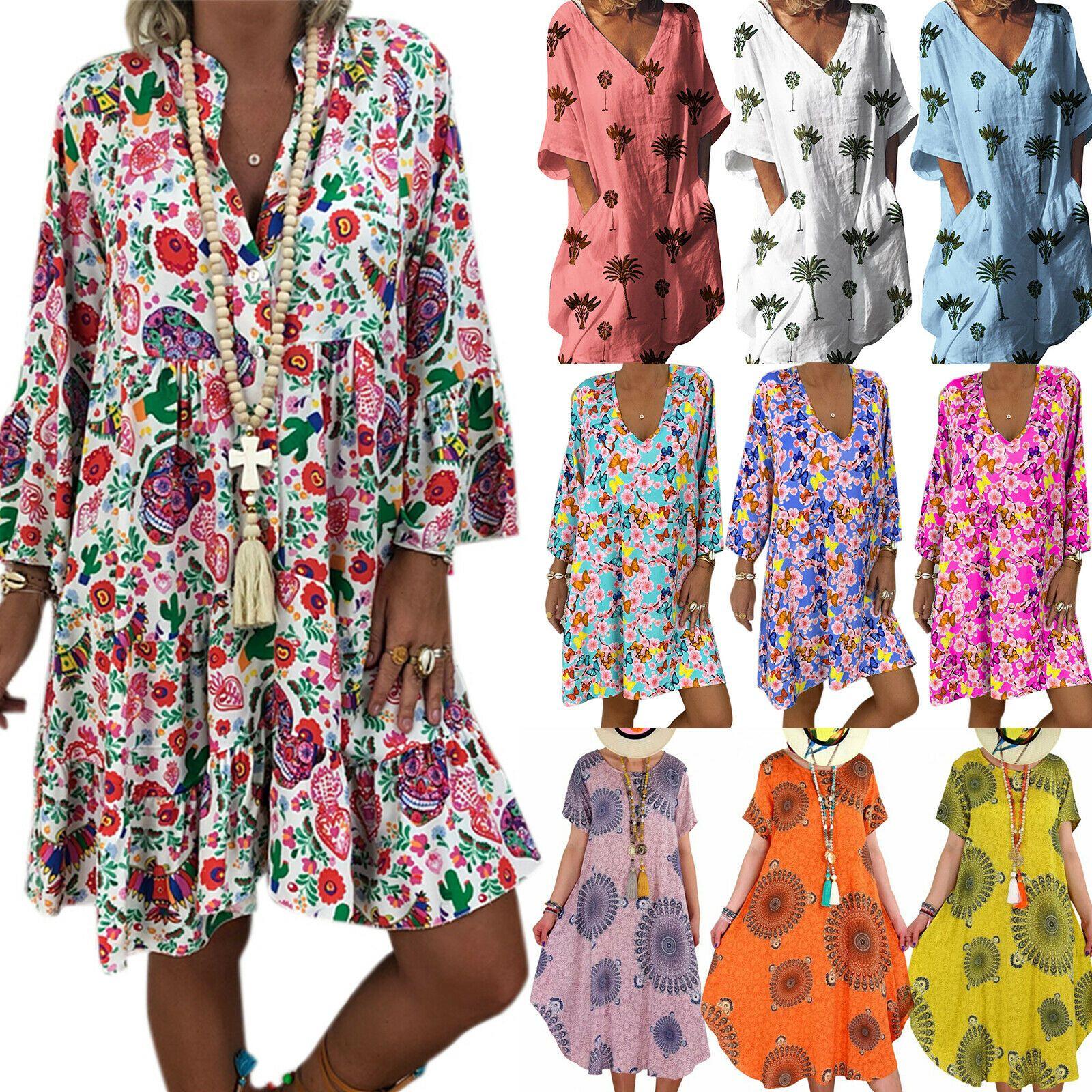 Damen Sommerkleid Blumen Minikleid Tunika Freizeit Partykleid Pullikleid Kleider