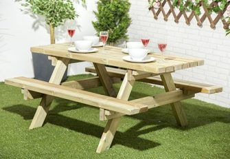 Ft Heavy Duty Pressure Treated Wood Picnic Table Bench Extra Thick - Pressure treated wood picnic table