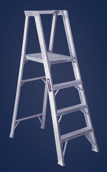 Platform Aluminum Step Ladders Slip Resistant Platform Large Fully Serrated Platform Locks Ladder In Place When Open Step Ladders Ladder Aluminium Ladder