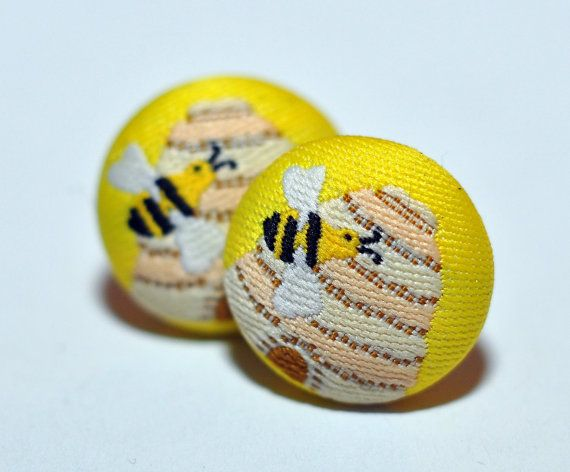 Bee Hive and Bee Fabric Button Earrings