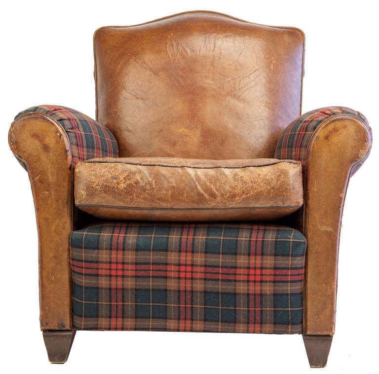 small scale club chair in leather and tartan plaid for sale at