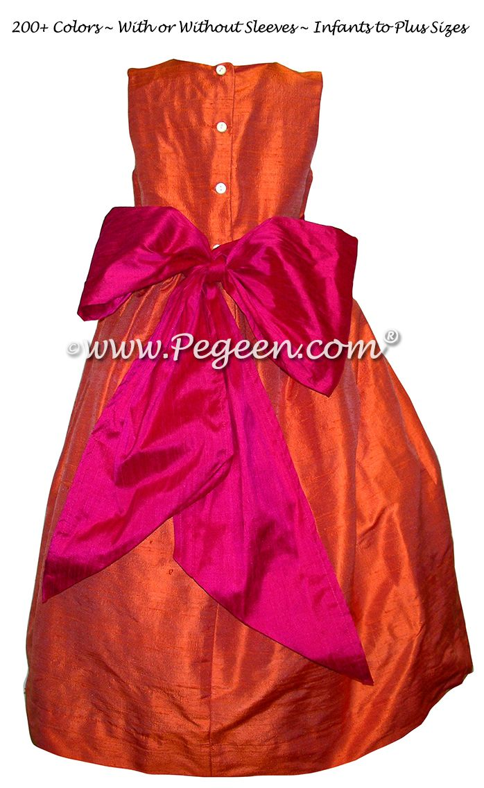 Orange And Hot Pink Silk Flower Girl Dresses Style 398 Hot Pink