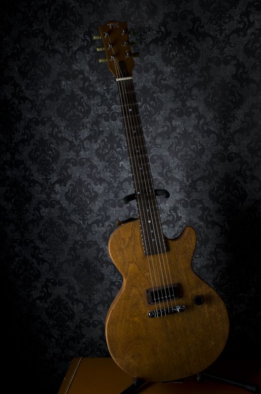 """""""TKjr"""" A gift guitar for my buddy, the legendary Tim Kestle. Channelling a LPjr. Mahogany slab body and neck, rosewood fingerboard. Vintage Epiphone mini-humbucker (stolen... err.... inherited from a highschool friend). Volume knob only."""