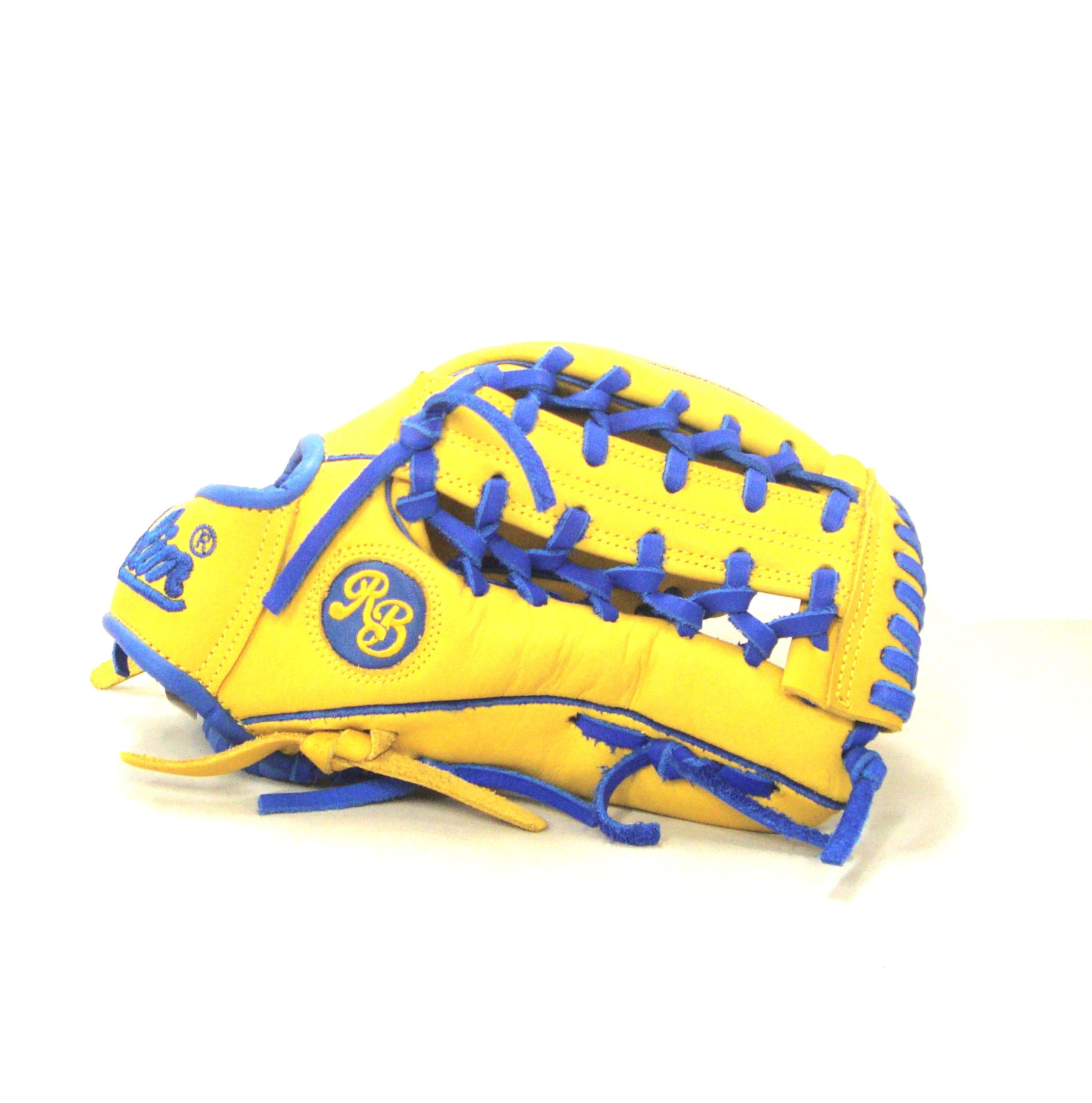 1275 Outfield Glove Royal Blue Yellow Rolin Baseball Gloves